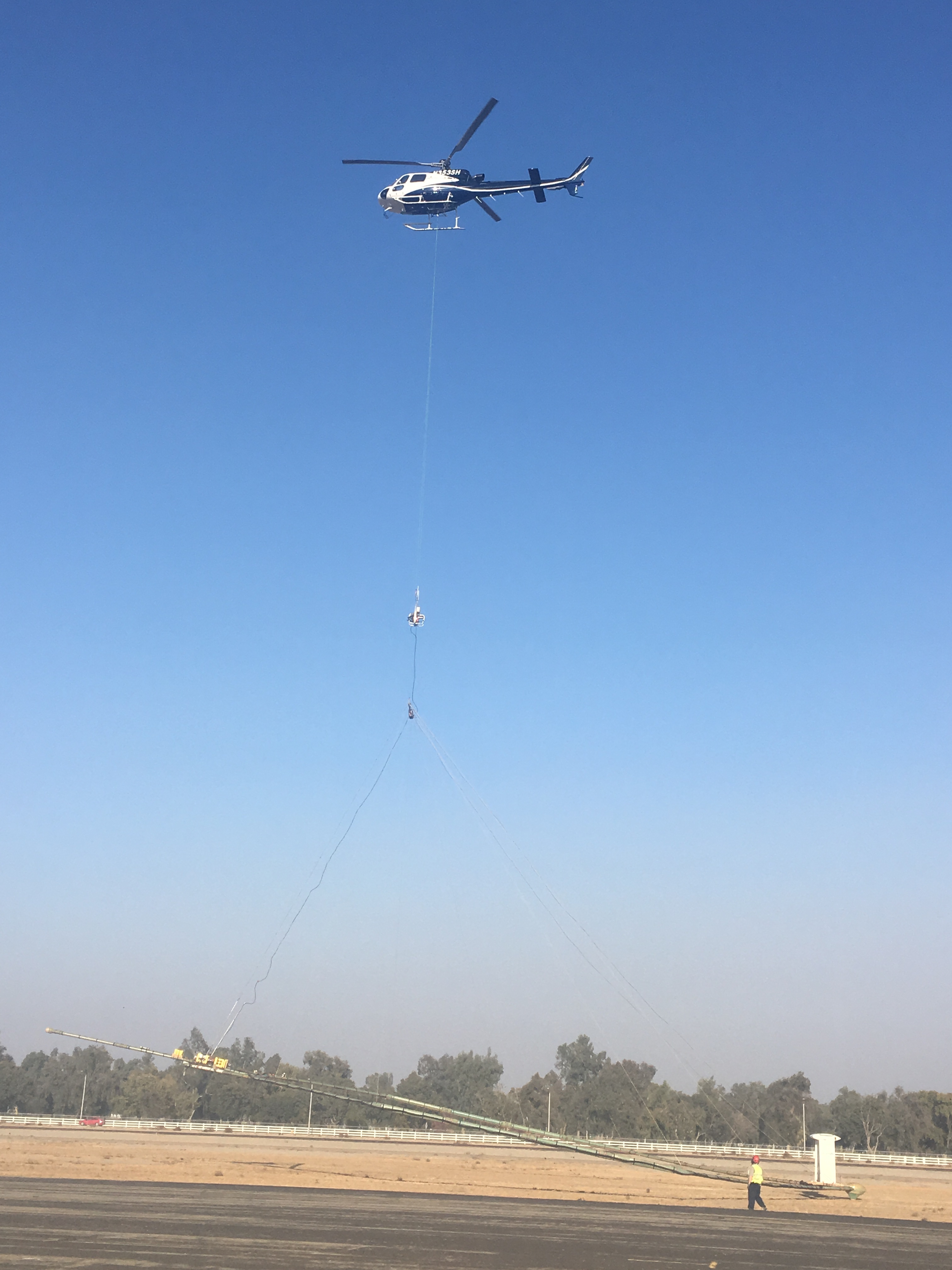 Helicopter taking off in Tulare County
